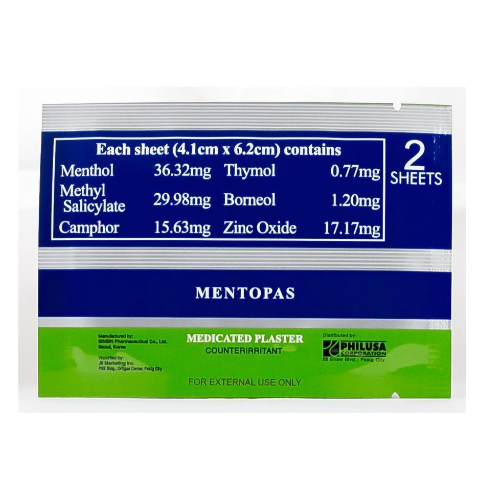 MENTOPAS MEDIPLAST PLASTER 2S