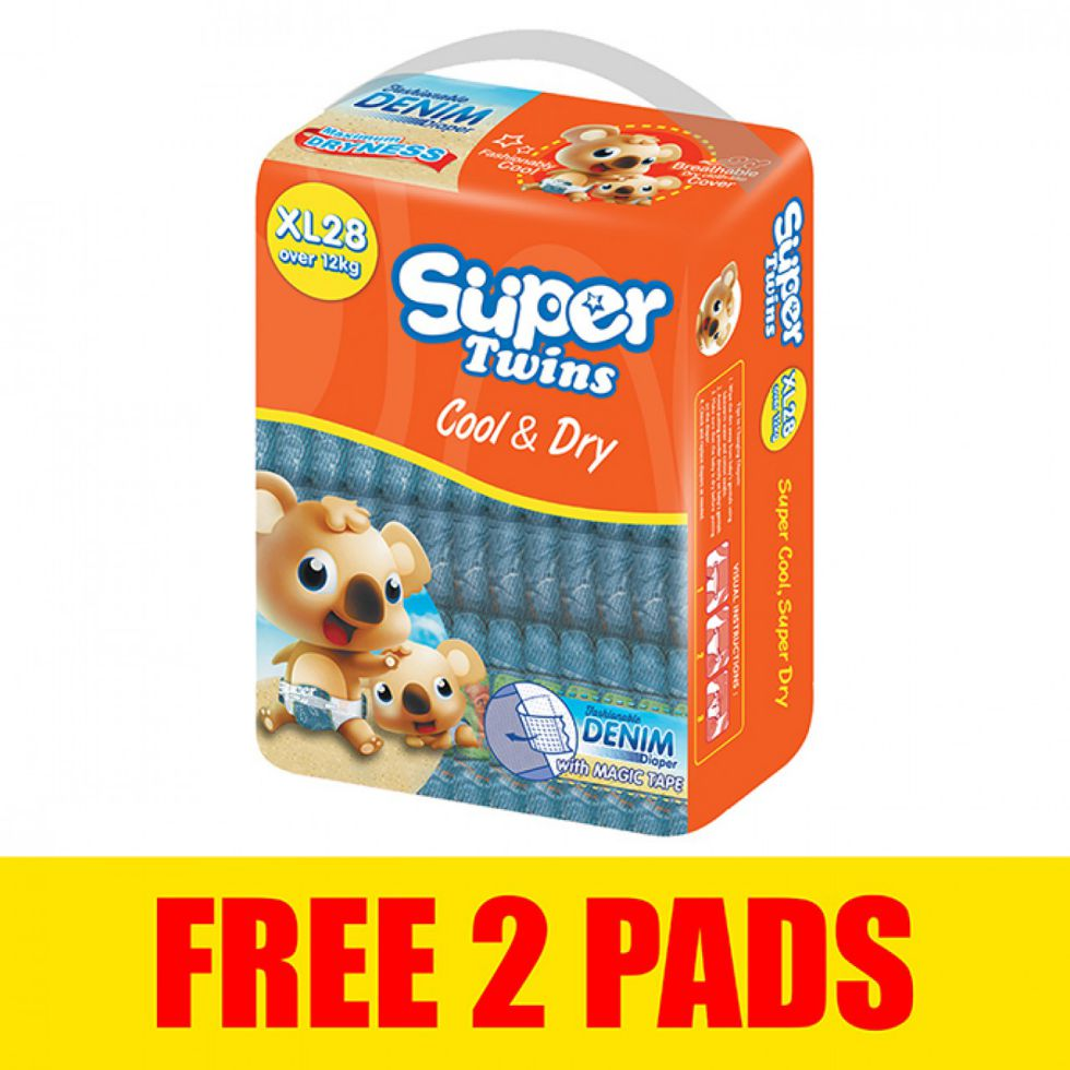 SUPER TWINS BABY DIAPER XL 28S